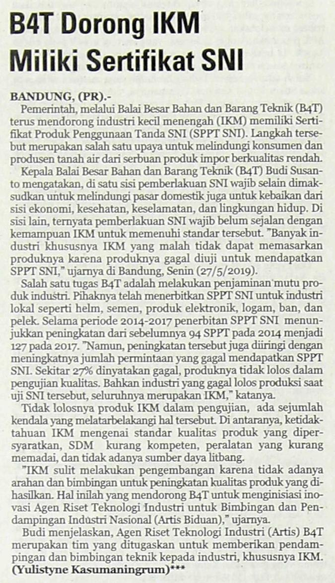 B4T Dorong IKM Miliki Sertifikat SNI