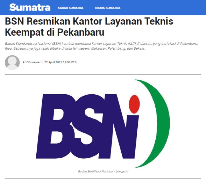 BSN  Resmikan KLT Keempat di Pekabaru