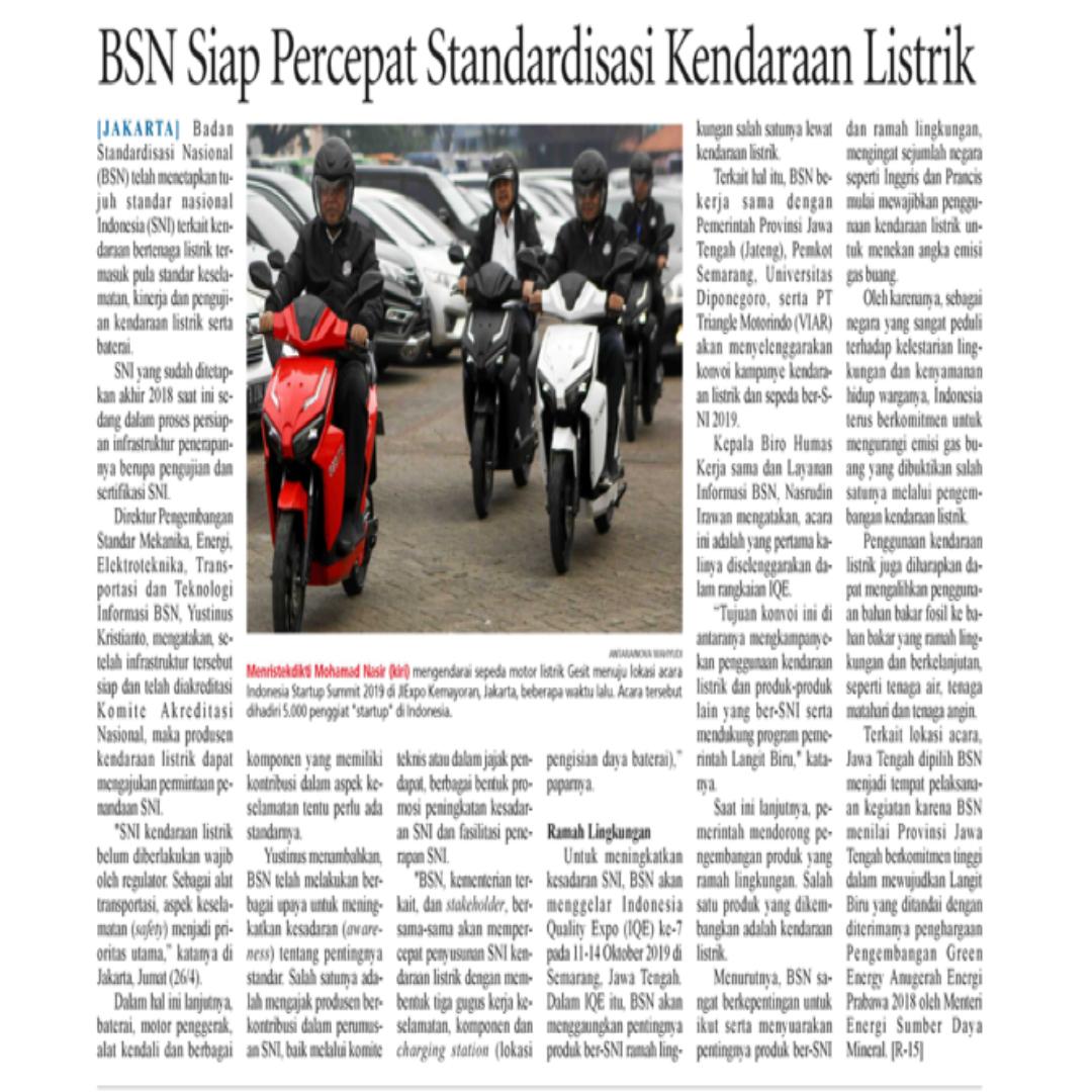 BSN Siap Percepat Standardisasi Kendaraan Listrik