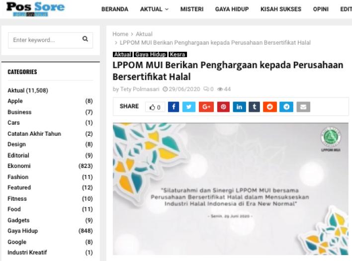 Lppom Mui Berikan Penghargaan Kepada Perusahaan Bersertifikat Halal Bsn Badan Standardisasi Nasional National Standardization Agency Of Indonesia Setting The Standard In Indonesia Iso Sni Wto