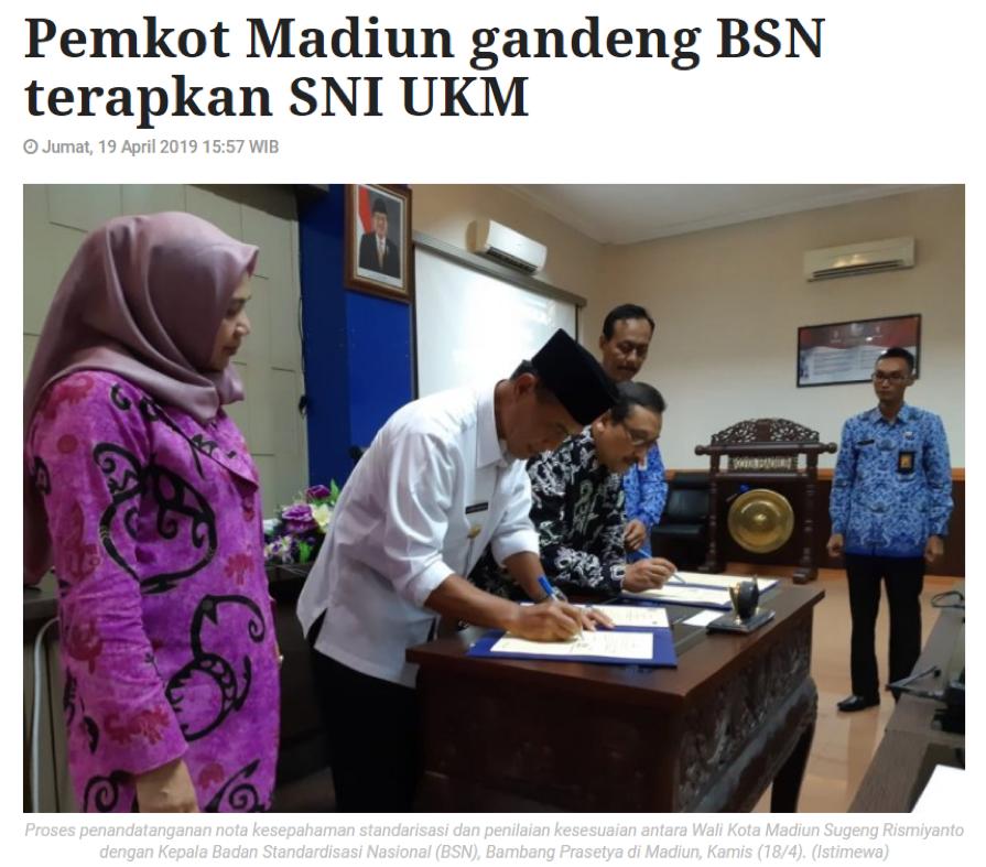 Pemkot Madiun Gandeng BSN Terapkan SNI UKM