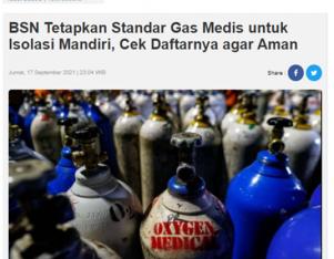 Badan Standardisasi Nasional Tetapkan SNI Lingkup Peralatan Gas Medis dan Perlengkapannya