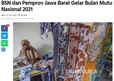BSN dan Pemprov Jawa Barat Gelar Bulan Mutu Nasional 2021