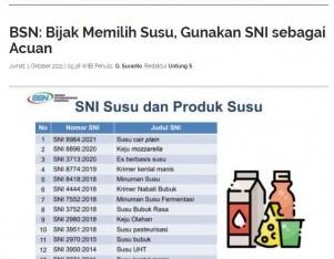 BSN: Bijak Memilih Susu, Gunakan SNI sebagai Acuan