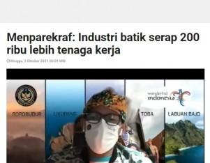 Menparekraf: Industri batik serap 200 ribu lebih tenaga kerja