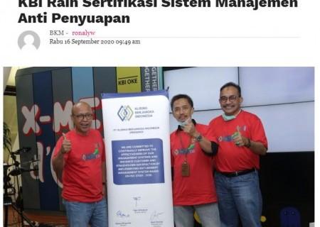 KBI Raih Sertifikasi Sistem Manajemen Anti Penyuapan
