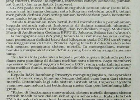 BSN Meredefinisi Tujuh Satuan Dasar