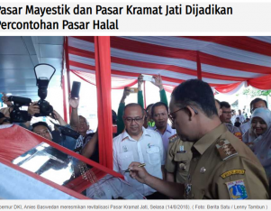 Pasar Mayestik dan Pasar Kramat Jati Dijadikan Percontohan Pasar Halal