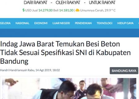 Indag Jawa Barat Temukan Besi Beton Tidak Sesuai Spesifikasi SNI di Kabupaten Bandung