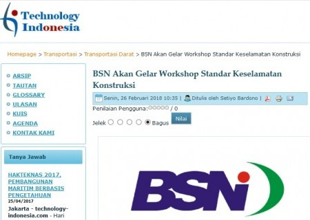 BSN Akan Gelar Workshop Standar Keselamatan Konstruksi