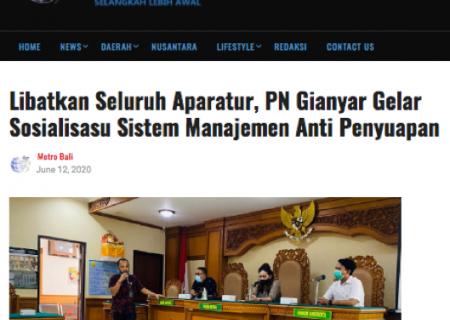 Libatkan Seluruh Aparatur, PN Gianyar Gelar Sosialisasi Sistem Manajemen Anti Penyuapan | metrobali.com