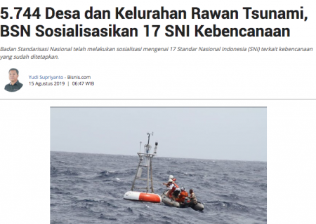 5.744 Desa dan Kelurahan Rawan Tsunami, BSN Sosialisasikan 17 SNI Kebencanaan