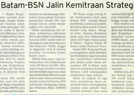 BP Batam-BSN Jalin Kemitraan Strategis