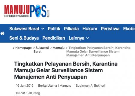 Tingkatkan Pelayanan Bersih, Karantina Mamuju Gelar Surveillance Sistem Manajemen Anti Penyuapan