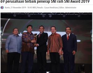 69 perusahaan terbaik penerap SNI raih SNI Award 2019