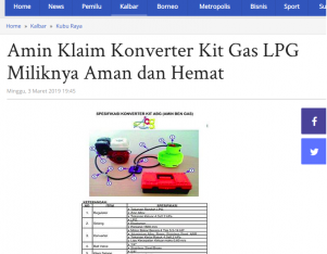 Amin Klaim Konverter Kit Gas LPG Miliknya Aman dan Hemat
