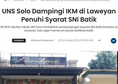 UNS Solo Dampingi IKM di Laweyan Penuhi Syarat SNI Batik
