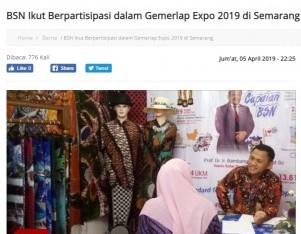 BSN Ikut Berpartisipasi dalam Gemerlap Expo 2019 di Semarang