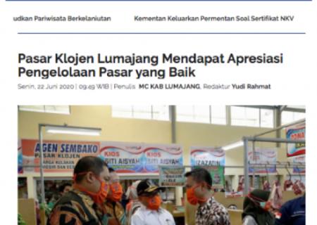 Pasar Klojen Lumajang Mendapat Apresiasi Pengelolaan Pasar yang Baik