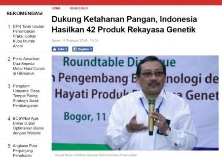 Dukung Ketahanan Pangan, Indonesia Hasilkan 42 Produk Rekayasa Genetik