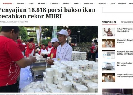 Penyajian 18.818 porsi bakso ikan pecahkan rekor MURI