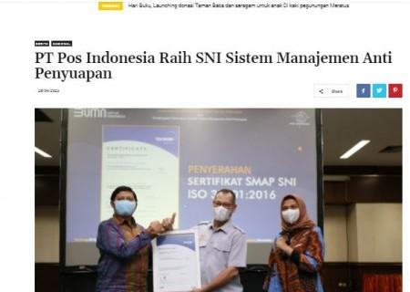 PT. Pos Indonesia Raih SNI Sistem Manajemen Anti Penyuapan