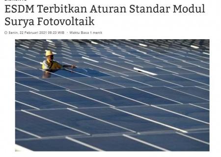 ESDM Terbitkan Aturan Standar Modul Surya Fotovoltaik