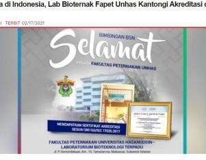 Pertama di Indonesia, Lab Bioternak Fapet Unhas Kantongi Akreditasi dari KAN