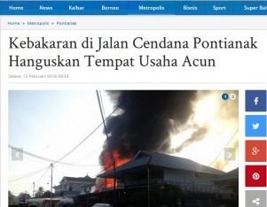 Kebakaran di Jalan Cendana Pontianak Hanguskan Tempat Usaha Acun