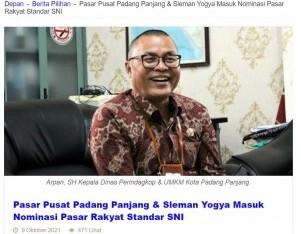 Pasar Padang Panjang & Sleman Yogya Masuk Nominasi Pasar Rakyat Standar SNI