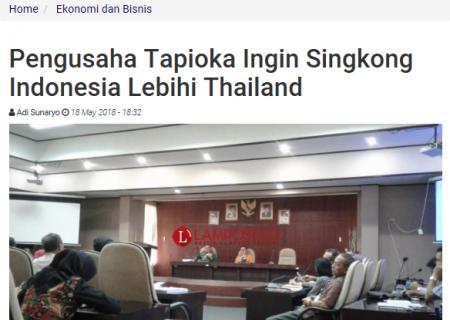 Pengusaha Tapioka Ingin Singkong Indonesia Lebihi Thailand