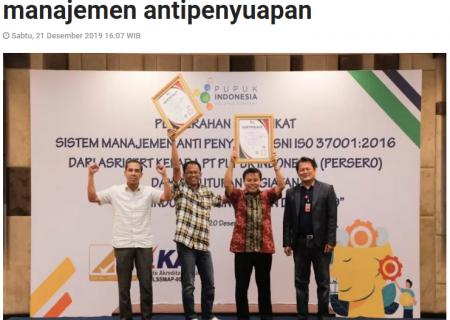 Pupuk Indonesia konsisten terapkan manajemen antipenyuapan