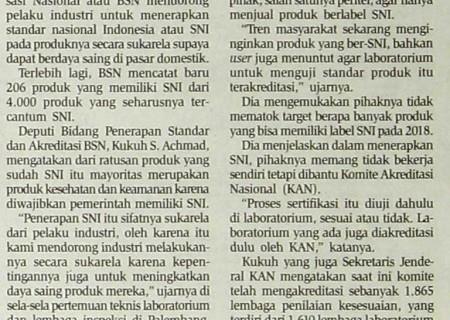 BSN Dorong Penerapan SNI Secara Sukarela