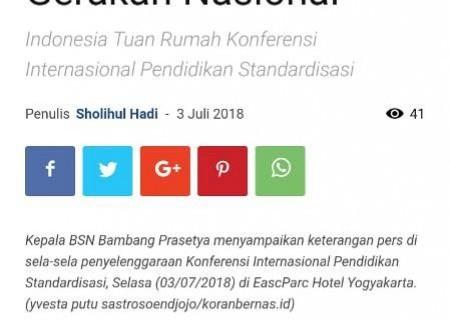 Jadikan Standardisasi Gerakan Nasional