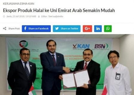 Kerjasama ESMA-KAN, Ekspor Produk Halal ke Uni Emirat Arab Semakin Mudah