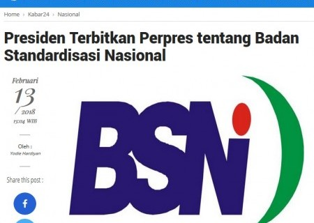 Presiden Terbitkan Perpres Tentang Badan Standardisasi Nasional