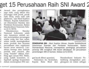 Target 15 Perusahaan Raih SNI AWard 2019
