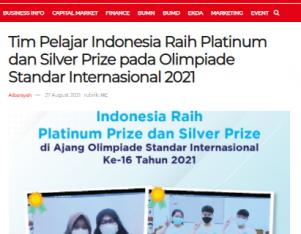 Tim Pelajar Indonesia Raih Platinum dan Silver Prize pada Olimpiade Standar Internasional 2021