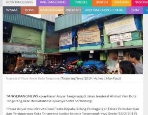 Pasar Anyar Kota Tangerang Akan Direvitalisasi Bak Hotel Berbintang