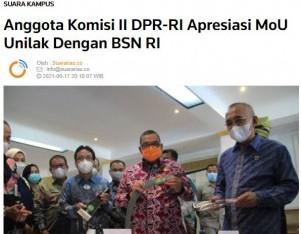 Anggota Komisi II DPR-RI Apresiasi MoU Unilak Dengan BSN RI
