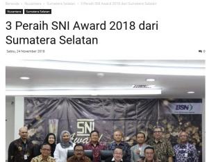 3 Peraih SNI Award 2018 dari Sumatera Selatan