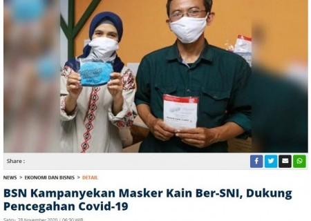 BSN Kampanyekan Masker Kain Ber-SNI, Dukung Pencegahan Covid-19