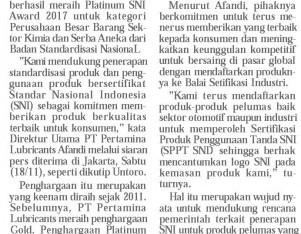 Pertamina Lubricants Raih Platinum SNI Award 2017