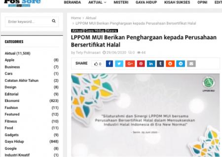 LPPOM MUI Berikan Penghargaan kepada Perusahaan Bersertifikat Halal