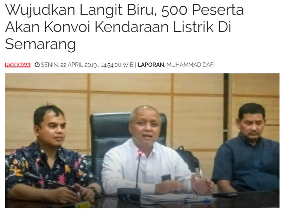 Wujudkan Langit Biru, 500 Peserta Akan Konvoi Kendaraan Listrik Di Semarang